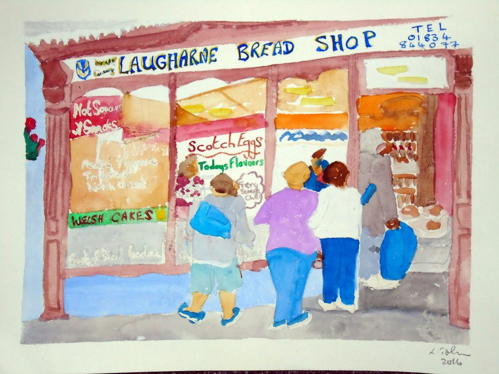 Laugharne bread shop Watercolour 54x44 £135