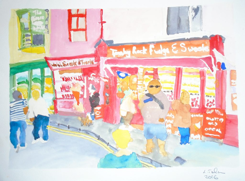 Tenby Rock and Fudge shop Print 36x28cm £25