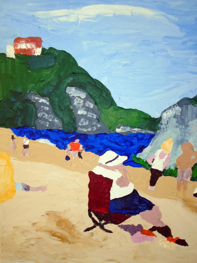 Woman on beach Tenby Acrylic on canvas 76x61 £370