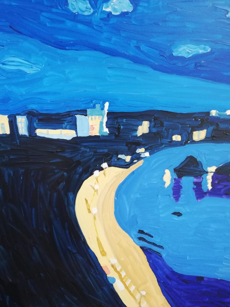 North beach Tenby at night Acrylic 61cm x 76cm £370