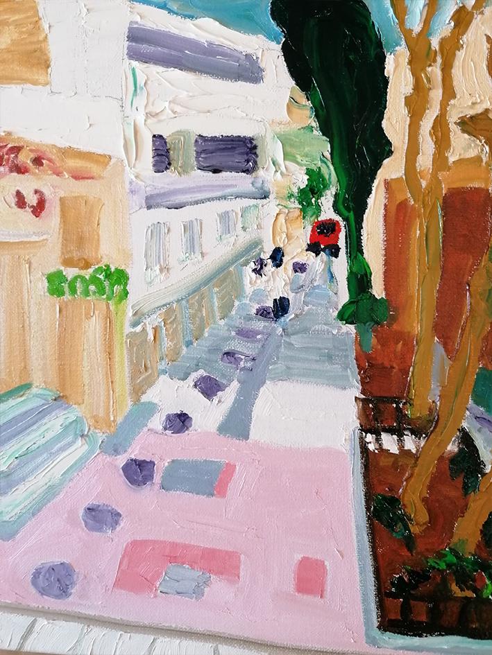 EXARCHIA street scene Oil on canvas 41X41cm £300